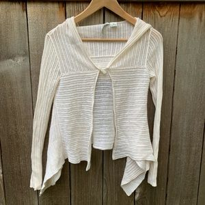 Autumn Cashmere White Crocheted Cardigan Sweater